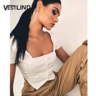 VESTLINDA 2018 Square Collar Short Sleeve Blouse