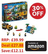 30% off at Amazon: LEGO City 60160 Jungle Mobile Lab £27.88 - save £12.11