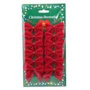 12 X 6cm Red Christmas Decoration Bows