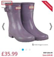 Hunter Original Womens Refined Short Gloss Wellington Boots Thundercloud