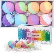 Bath Bombs Gift Set, Aprilis 8 Fizzy Bubble Bath Rainbow Bath Bombs