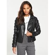 V by Very Faux Leather Stud and Lace up Jacket