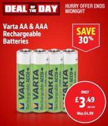 Varta Rechargeable Batteries AA or AAA Pack of 4 Only £3.49