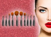 10 Piece Set of Pro Oval Foundation Powder Brushes