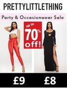 Up to 70% off PARTY CLOTHES at PRETTY LITTLE THING