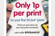 """With Code : BPEBANKX5 50p for 50 for 6x4"""" Photo Prints at Boots + £0.99 P&P"""
