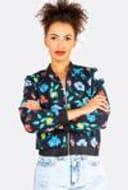 Black Cotton Floral Printed Bomber Jacket