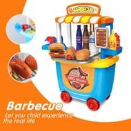 Kids Toddler Children's BBQ Barbecue Cart Shop Toys Play Game Set Cooking Fun UK