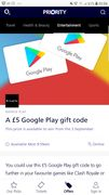 £5 Google Play Gift Code (02 Priority Moments)