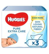Huggies Pure 'Extra Care' Baby Wipes - 3 Pack (168 Wipes)