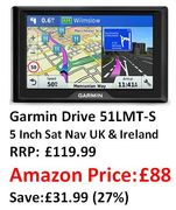 SAVE £31.99 AT AMAZON: Garmin Drive 51LMT-S 5 Inch Sat Nav - UK & Ireland