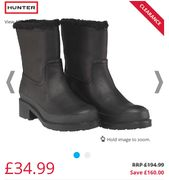 Hunter WomensShearling Lined Ankle Boots Size 3 Only
