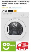Cheap Price Tumble Dryer - Hotpoint Aquarius TVFM70BGP 7Kg FREE DELIVERY