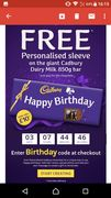 Free Personalised Sleeve on Cadbury Dairy Milk 850g Bar