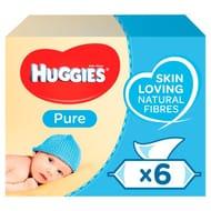 Huggies Pure Baby Wipes Fragrance Free 6 Packs 6X56 Wipes