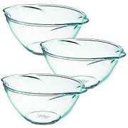 Pyrex Tempered Glass Kitchen Mixing Bowls SET of THREE 2.5l/4.4pts