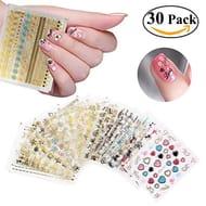 RUIMIO Nail Stickers 30 Sheet Nail Decals 3D Nail Art Designs for Women Girls