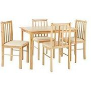 Martino Dining Table + 4 Chairs - Natural