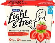 Light & Free Greek Style Fat Free Strawberry Yogurts 4x115g