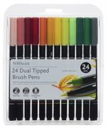 WHSmith Dual Tipped Brush Pens, Fine Nib, Assorted Ink (Pack of 24)
