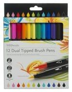 WHSmith 12 Dual Tipped Brush Pens, Fine Nib, Various Ink