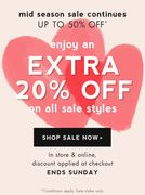 + Enjoy an Extra 20% off on All Sale Styles
