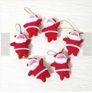 Santa Claus Decs for the Xmas Tree - 1 Set (6 Pieces) - Free Delivery