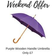 WEEKEND OFFER - Purple Wooden Handle Umbrella