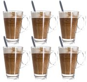 LIVIVO Set of 6 Tall Latte Glasses with Spoons