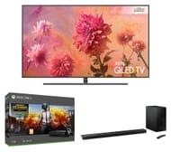 "SAMSUNG 65"" Smart Ultra HD HDR QLED 4K TV 5.1 Wireless Sound Bar, Xbox One X"