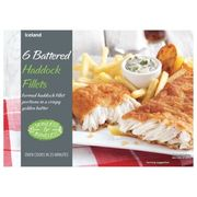 Iceland 6 Battered Haddock Fillets 750g