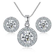 925 Sterling Silver Crystal Wedding Necklace Earring