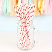 Pack of 25 Red Heart Paper Straws