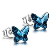 Butterfly Pierced Stud Earrings 925 Sterling Silver with Swarovski Crystals