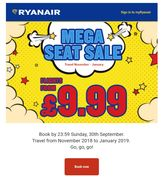 Ryanair Flash Sale Frenzy - Fly from £9.99