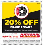 20 % off Brake Repairs at National Tyres and Autocare