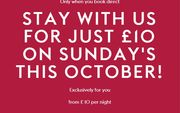 Stay for Just £10 on Sunday Nights in October (Multiple Locations)