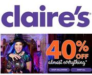 40% off ALMOST EVERYTHING at Claire's!