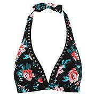 Embellished Floral Print Bikini Top