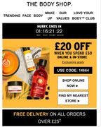 The Body Shop £20 off £50 + Free Delivery over £25