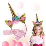 Fiream Girls Unicorn Birthday Party Headband and Pink Birthday Sash Set