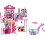 Complete Barbie Home Set with 3 Dolls and Pool Only £59.99