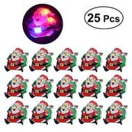 25Pcs Christmas Santa Claus Badge Brooch with LED Light