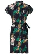 Dorothy Perkins Navy Tropical Print Shirt Dress