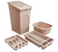 Argos Home 4 Piece 50L Kitchen Bin Set - Natural Only £10.99