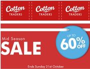 Cotton Traders CLEARANCE SALE up to 60% OFF. ENDS ON SUNDAY