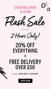 Hurry! 20% off Everything! 8-10pm TODAY
