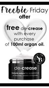 Get a Free De-Crease worth £49 with Every 100ml Bottle of Simply Argan Oil