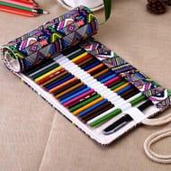 Canvas Wrap Pen Case Holder Storage Pouch
