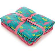 Great Value Flamingo & Pineapple 2-Pack Fleece Throws Free C&C